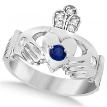 Irish Heart Diamond & Sapphire Claddgh Ring 14k White Gold (0.35ct)