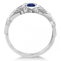 Irish Heart Diamond & Sapphire Claddgh Ring 14k White Gold (0.35ct)