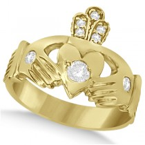 Irish Heart with Crown Claddagh Diamond Ring 14k Yellow Gold (0.35ct)