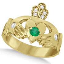 Diamond & Green Emerald Ring Claddagh Irish 14k Yellow Gold (0.35ct)