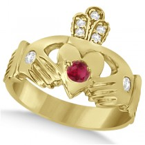 Irish Heart Crown Claddagh Ruby & Diamond Ring 14k Yellow Gold (0.35ct)