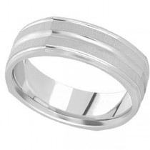 Square Wedding Band Carved Ring in 14k White Gold (7mm)