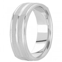 Square Wedding Band Carved Ring in Palladium for Men (7mm)