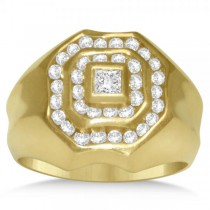 Diamond Accented Engagement Ring for Men in 14k Yellow Gold (1.25ct)