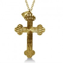 Cross Flower Pendant in Plain Metal 14k Yellow Gold