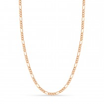 Figaro Chain Necklace With Lobster Lock 14k Rose Gold