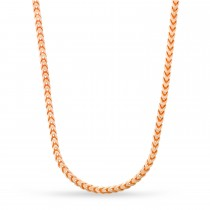 Large Franco Chain Necklace With Lobster Lock 14k Rose Gold