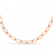 Large Paperclip Link Chain Necklace With Lobster Lock 14k Rose Gold