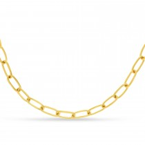 Large Paperclip Link Chain Necklace With Lobster Lock 14k Yellow Gold