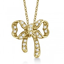 Bow Tie Diamond Pendant Necklace 14kt Yellow Gold (0.30ct)