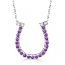 Amethyst & Diamond Horseshoe Pendant Necklace 14k White Gold (0.25ct)