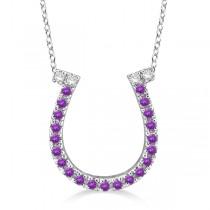 Amethyst & Diamond Horseshoe Pendant Necklace 14k White Gold (0.25ct)