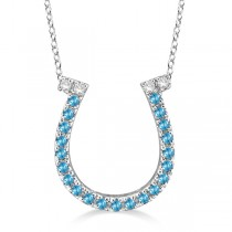Blue Topaz & Diamond Horseshoe Pendant 14k White Gold (0.25ct)