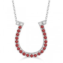 Garnet & Diamond Horseshoe Pendant Necklace 14k White Gold (0.25ct)