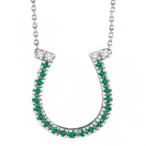 Emerald & Diamond Horseshoe Pendant Necklace 14k White Gold (0.25ct)