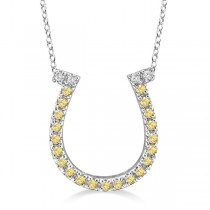 Fancy Yellow Canary Diamond Horseshoe Pendant Necklace 14k White Gold