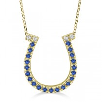 Sapphire & Diamond Horseshoe Pendant Necklace 14k Yellow Gold (0.25ct)