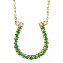 Emerald & Diamond Horseshoe Pendant Necklace 14k Yellow Gold (0.25ct)