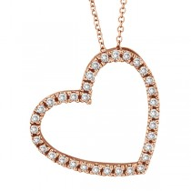 Diamond Open Heart Pendant 14k Rose Gold (Pink Gold) 0.40 ctw