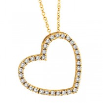 Diamond Open Heart Pendant 14k Yellow Gold (0.40 ctw)