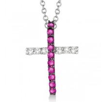 Pink Sapphire & Diamond Cross Pendant Necklace 14k White Gold (0.25ct)