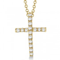 Diamond Cross Pendant Necklace in 14k Yellow Gold (0.25ct)
