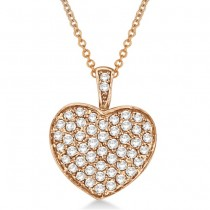 Diamond Puffed Heart Pendant Necklace in 14k Rose Gold (1.30ct)