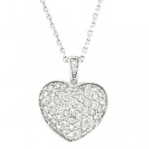 Diamond Puffed Heart Pendant Necklace in 14k White Gold (1.30ctw)