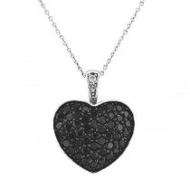 Black Diamond Puffed Heart Pendant in 14k White Gold (1.30ctw)