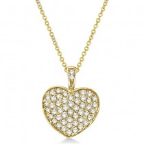 Diamond Puffed Heart Pendant Necklace in 14k Yellow Gold (1.30ct)