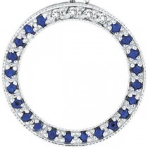 Diamond & Blue Sapphire Circle Pendant Necklace 14k White Gold