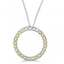 Fancy Yellow Canary & White Diamond Circle Pendant 14k Gold (0.25ct)
