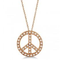 Diamond Peace Sign Pendant Necklace 14k Rose Gold (0.50ct)