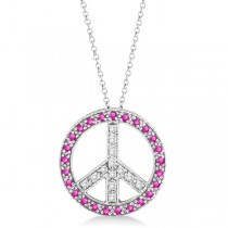 Diamond & Pink Sapphire Peace Pendant Necklace 14k White Gold 0.92ct