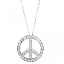 Diamond Peace Sign Pendant Necklace 14k White Gold (0.50ct)
