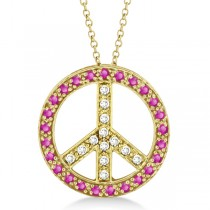 Diamond & Pink Sapphire Peace Pendant Necklace 14k Yellow Gold 0.92ct