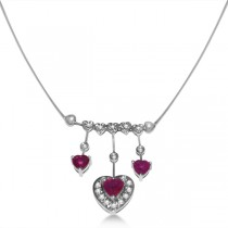 Diamond and Ruby Heart Necklace in 14k White Gold (2.05ct)