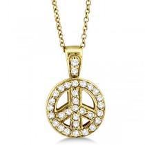 Diamond Peace Sign Pendant Necklace 14k Yellow Gold (0.28ct)