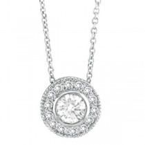 Halo Diamond Circle Pendant Necklace 14K White Gold (0.70ctw)