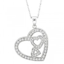 Triple Heart Diamond Pendant Necklace in 14k White Gold (0.58 ctw)