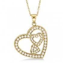 Triple Heart Shaped Diamond Pendant Necklace 14k Yellow Gold (0.58ct)