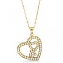 Triple Heart Shaped Diamond Pendant Necklace 14k Yellow Gold (0.58ct)