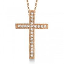 Diamond Cross Pendant Necklace Milgrain Edged 14k Rose Gold (0.33ct)