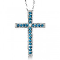 Blue & White Diamond Cross Pendant Necklace 14k White Gold (0.33ct)