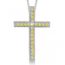 Yellow & White Diamond Cross Pendant Necklace 14k White Gold (0.33ct)