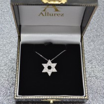 Jewish Star of David Diamond Pendant Necklace 14k White Gold (0.35ct)