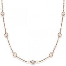 Diamond Station Necklace Bezel-Set in 14k Rose Gold (3.00ct)