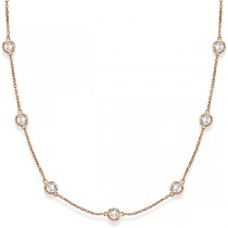 Diamond Station Necklace Bezel-Set in 14k Rose Gold (3.50ct)