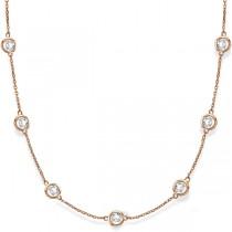 Diamond Station Necklace Bezel-Set in 14k Rose Gold (6.00ct)