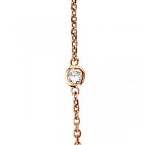 Diamond Station Necklace Bezel-Set in 14k Rose Gold (1.00ctw)
